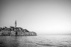 Old city core in Rovinj bw Royalty Free Stock Photos