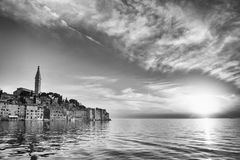 Old city core in Rovinj at sunset bw Royalty Free Stock Photos