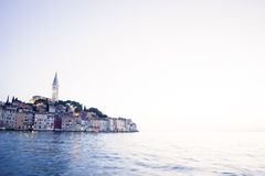 Old city core of Rovinj at sunset Stock Image
