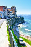 The old city Corfu Town with high walls near the sea Stock Photography