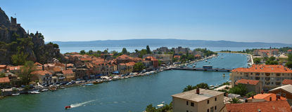 Old city in Croatia - Omis. Omis - city in Croatia. On one place you can see circuit of mountain, delta of river and Adriatic sea. Horizontal color photo stock photography