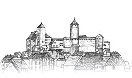 Old city. Downtown view. Medieval european castle landscape. Pen Stock Photography