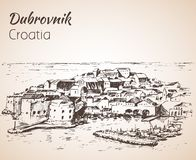 Old city Dubrovnik, Croatia. Sketch. Isolated on white background royalty free illustration