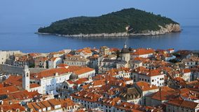 Old city of Dubrovnik with Lokrum island Royalty Free Stock Photos