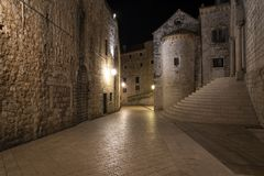 Old city of Dubrovnik at night in Croatia stock photography