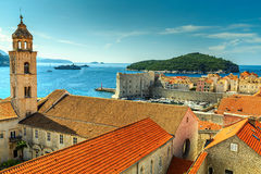 Old city of Dubrovnik panorama from the city walls,Croatia Stock Images