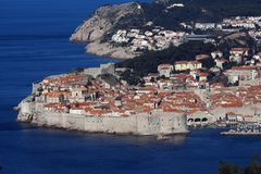The old city of Dubrovnik. Panoramic view of the historic city of Dubrovnik at the Adriatic coast of Croatia stock photo