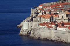 The old city of Dubrovnik. Partial view of the sea fortifications in the historic city of Dubrovnik at the Adriatic coast of Croatia royalty free stock photos