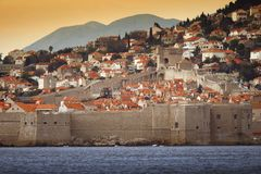 The old city of Dubrovnik. Partial view of the sea fortifications in the historic city of Dubrovnik at the Adriatic coast of Croatia royalty free stock photography