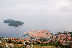 The old city of Dubrovnik seen from above Stock Photography