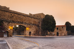 In the Old City in the early morning. Rhodes Island. Greece. Old Town entered in the Register of Heritage UNESCO. Knight Building, Byzantine churches and mosques royalty free stock photo