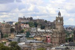 Old city of Edinburgh with Royal Castle stock photos