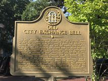 Old City Exchange Bell Placard in Savannah, GA.  stock photo