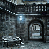 Old city with first snow. Old city with first white snow Royalty Free Stock Image