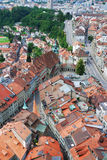 Old city of Fribourg from above. Stock Photos