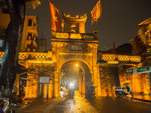 The Old city gate at night, Old Quarter in Hanoi, Vietnam. The Old city gate at night in the Old Quarter in Hanoi, Vietnam Royalty Free Stock Photos