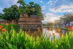 Old city gate ruins river. In Chiang Mai Thailand royalty free stock photo