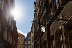 Old city of Gdansk. Lantern on the wall in old city of Gdansk, Poland Stock Photo