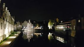 Old city of Ghent at night Stock Photo