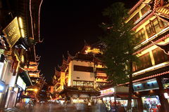 The Old City Gods Temple at night in Shanghai YuYuan Royalty Free Stock Photography