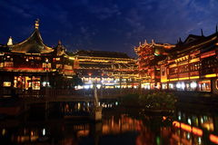 The Old City Gods Temple at night in Shanghai YuYuan Royalty Free Stock Image