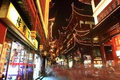 The Old City Gods Temple at night in Shanghai YuYuan Stock Photos