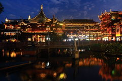 The Old City Gods Temple at night in Shanghai YuYuan Stock Photo
