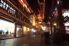 The Old City Gods Temple at night in Shanghai YuYuan Stock Image