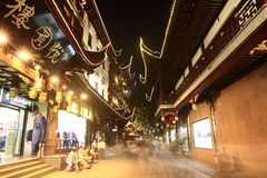 The Old City Gods Temple at night in Shanghai YuYuan Stock Photography