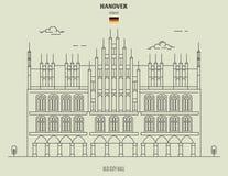 Old City Hall in Hanover, Germany. Landmark icon stock illustration