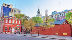 Old City Hall and Independence Hall of Philadelphia in evening Stock Images