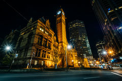 Old City Hall at night, in downtown Toronto, Ontario. Stock Photography