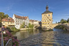 City Hall of Bamberg, Bavaria, in the morning royalty free stock photo
