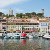 Old city and harbor in Cannes Stock Images