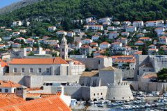 The old city harbor of Dubrovnik in the morning stock images