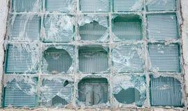 Old city house broken chip window glass vandalism Stock Photography
