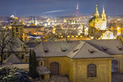 Old city houses in winter night Stock Photos