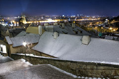 Old city houses in winter night Royalty Free Stock Photos