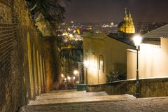 Old city houses in winter night Stock Photography