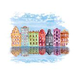 Old city illustration with watercolor hand drawn old european houses and reflections in the water. Old city illustration with watercolor hand painted old vector illustration