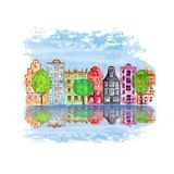Old city illustration with watercolor hand drawn old european houses, trees and reflections in the water. Old city illustration with watercolor hand painted old vector illustration