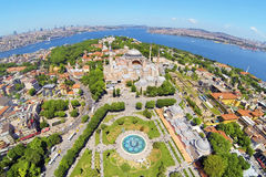 Old City of Istanbul and Hagia Sophia from above. Aerial Turkey Views. Hagia Sophia, forth largest building in the world that was made as a church Royalty Free Stock Photos