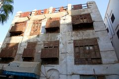 Old city in Jeddah, Saudi Arabia known as `Historical Jeddah`. Old and heritage buildings and roads in Jeddah.Saudi Arabia. 15 june 2018 royalty free stock photography