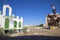 Old city in Jeddah, Saudi Arabia known as `Historical Jeddah`. Old and heritage Church building and roads in Jeddah.Saudi Arabia. Old city in Jeddah, Saudi stock photography