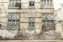 Old city in Jeddah Saudi Arabia known as Historical Jeddah. Old and heritage Windows and Doors in Jeddah.Saudi Arabia royalty free stock photos