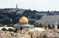 Old city of Jerusalem. Temple Mount: Dome on the Rock, Russian church, jewish cemetery Royalty Free Stock Photography