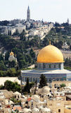 Old city of Jerusalem. Temple Mount: Dome on the Rock, Russian church, jewish cemetery Stock Photo