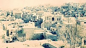 Old City of Jerusalem cityscape. Roofs of the houses of the Old City of Jerusalem, cityscape of traditional buildings. Historic archival footage in the 1970s in stock video