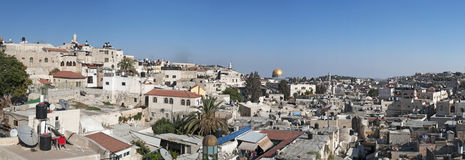 Jerusalem, Old City, Israel, Middle East, Dome of the Rock, skyline, roofs, walls, Holy Land, religion, islam, catholicism. The Old City with the Dome of the stock photography