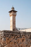 Jerusalem, Old City, Israel, Middle East, mosque, Al Aqsa Mosque, islam, minaret, Temple Mount, ruins, skyline, cityscape. The minaret of Al Aqsa Mosque on Royalty Free Stock Photos